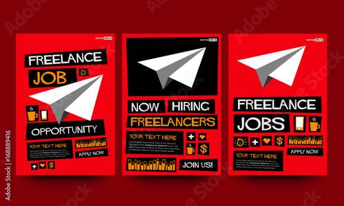 Freelance Job Hiring Poster Template\