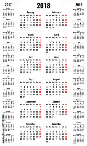 simple vertical vector calendars for 2018 and 2017 2019 years