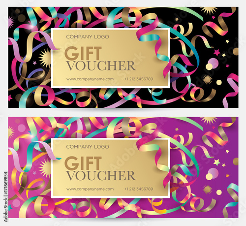 Gift coupon with colorful ribbons, serpentine and glitter Christmas