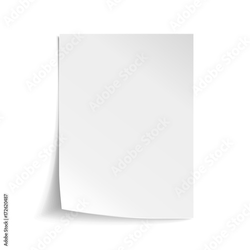 Vector White sheet of paper Realistic empty paper note template of - note paper template