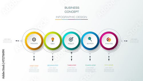 Vector Infographic 3D circle label design, Arrows sign and 5 options