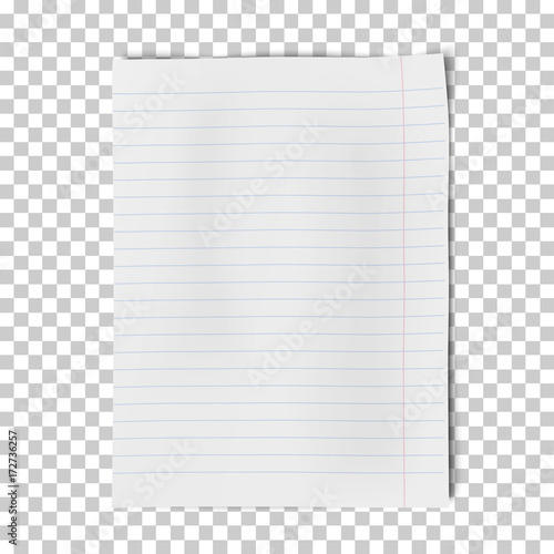 A4 sheet of lined paper isolated on transparent background Vector
