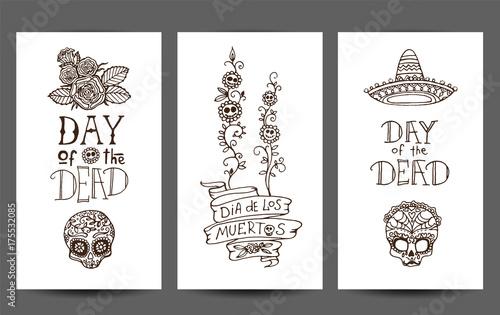Dia de los Muertos or Day of the Dead hand sketched doodles - set of