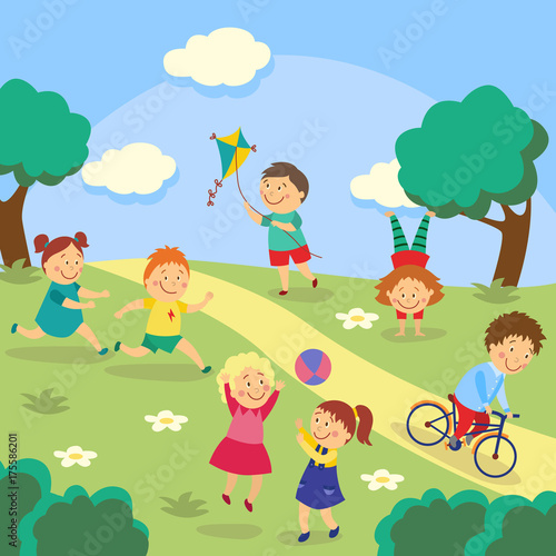 Kids, children playing tag and ball, flying kite, cycling and doing - cartoon children play