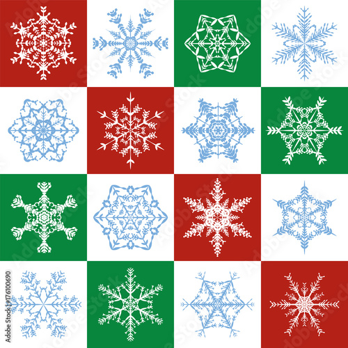 Snowflakes pattern - delicate red, green, white christmas background