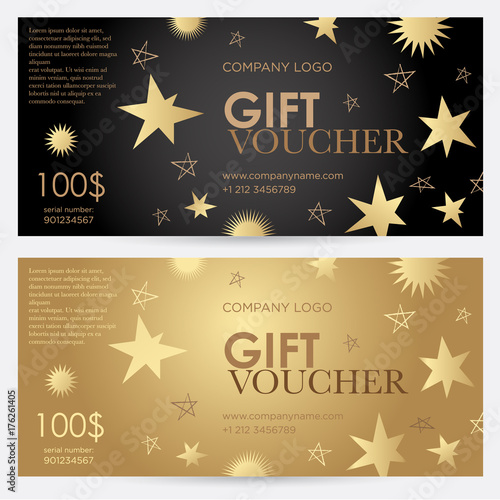 Gift voucher with gold stars Christmas gift certificate Vector