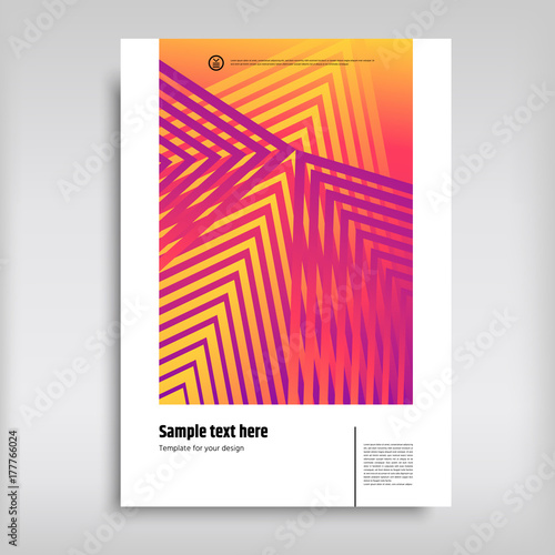 Orange, pink, yellow gradient vector covers Templates with abstract