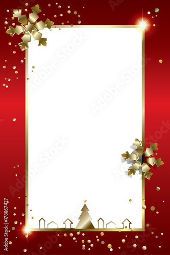 Vector Christmas greeting card with gold Christmas frame, copy space