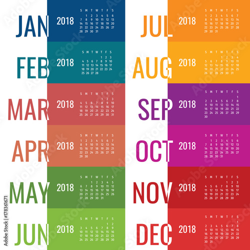 Year 2018 calendar vector template Modern 2018 calendar Vector of - 12 calendar