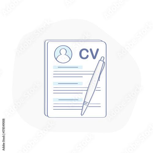CV icon concept, Curriculum Vitae, Resume symbol Document and pen