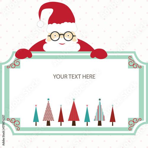 Merry Christmas Card with Santa and Christmas TreeChristmas