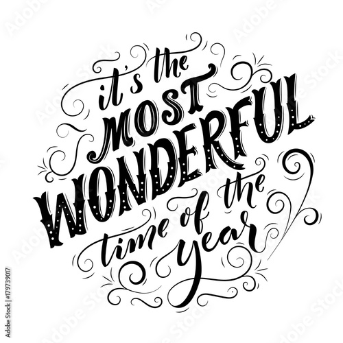 It\u0027s the most wonderful time of the year Black typography for - christmas cards black and white
