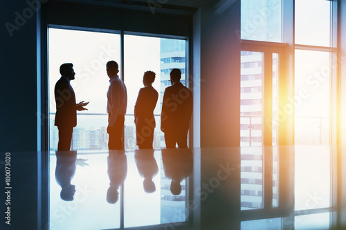 Group business people big window office concept\
