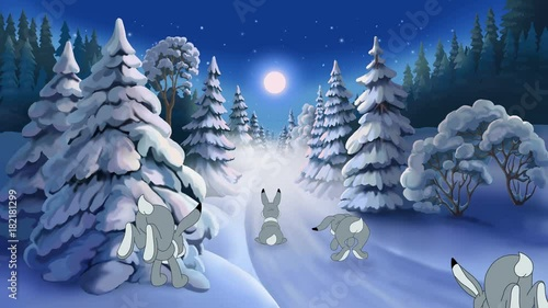 Christmas animated card with hares and Santa Claus This short