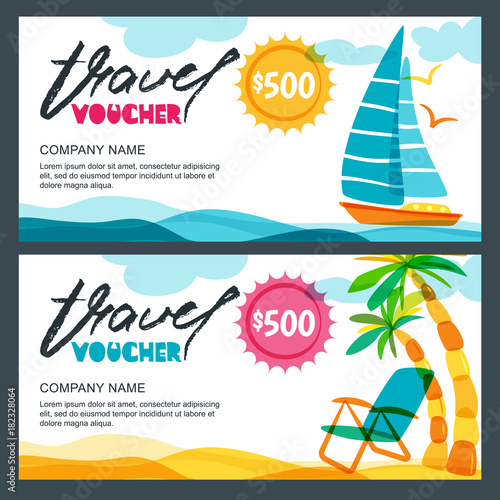 Vector gift travel voucher template Tropical island, yacht, sailing - Travel Gift Certificate Template Free