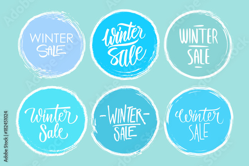 Winter Sale hand drawn lettering set of special offer signs with