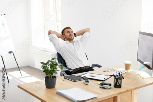 Worker Relaxing In Office Relaxed Man At Work\