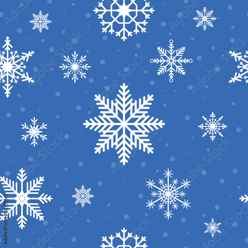Snowflakes seamless pattern Christmas and New Year winter holiday