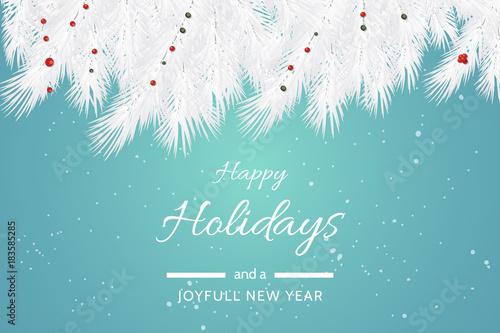 Turquoise Happy Holidays and Joyful New Year Vector Illustration - happy holidays and new year greetings