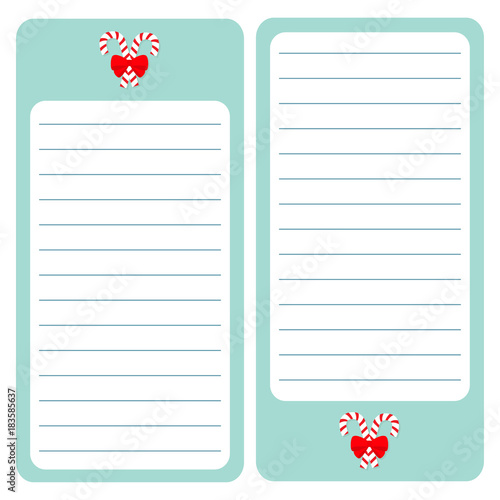 Merry Christmas Candy Cane Paper Note List pad Planner set Lined