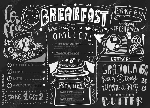 Breakfast menu design template Modern lettering with sketch icons