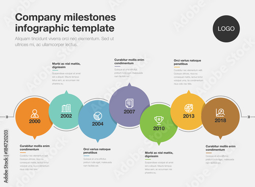 Vector infographic for company milestones timeline template isolated
