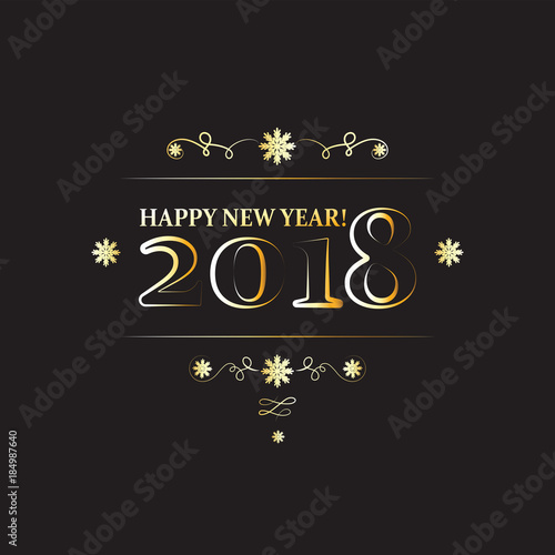 Inscription 2018 HAPPY NEW YEAR! Golden letters and numbers with