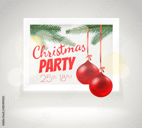 Christmas greeting card layout Party announcement vector template