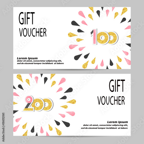 Gift voucher design with golden, black and pink drops Vector - coupon voucher template