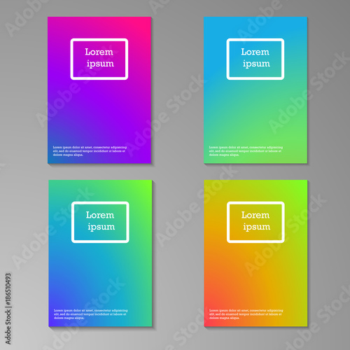 Abstract multicolored blurred brochure design templates collection