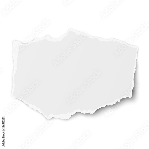 Torn paper piece with soft shadow isolated on white background