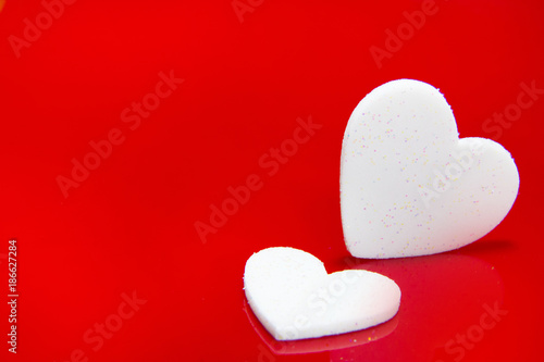white hearts on red image background glossy for symbol valentine day