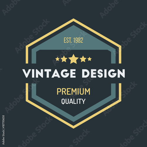 Colorful Vintage Hipster Logo Design Template Vector\ - hipster logo template