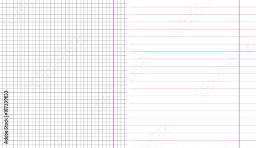 Set of school sheet paper notebook square and linear grid paper
