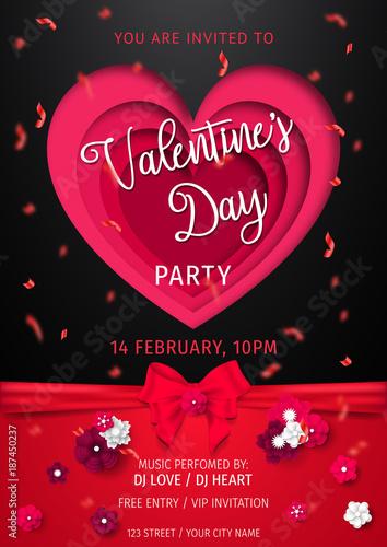 Happy Valentine\u0027s Day Party Flyer love Invitation card Valentine\u0027s