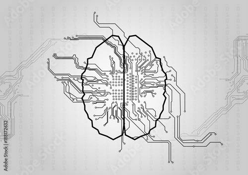 Vector circuit with brain technology background Concept - circuit design background