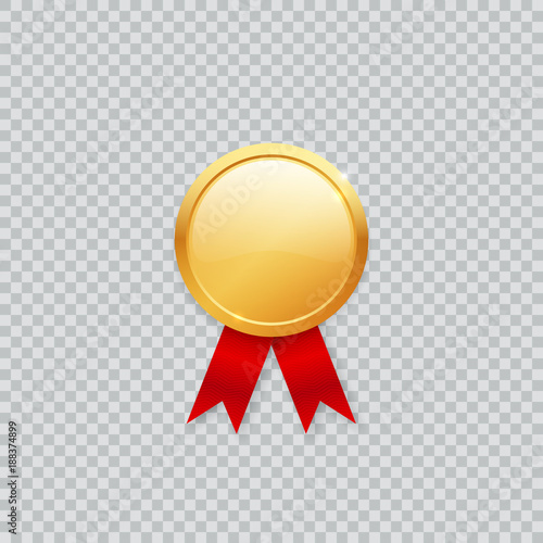 Shiny realistic vector blank empty golden medal mockup template with - gold medal templates