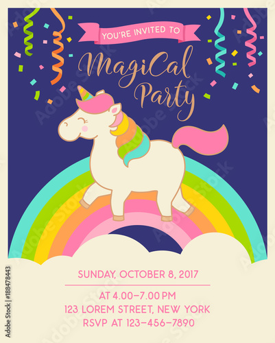 Cute unicorn illustration for invitation card design template\