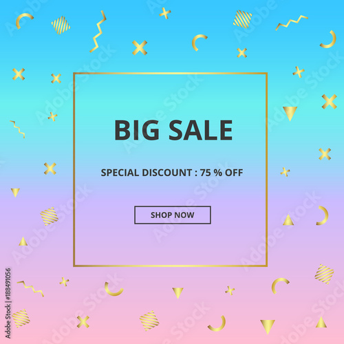 Colorful sale banner for online shopping with discount offer