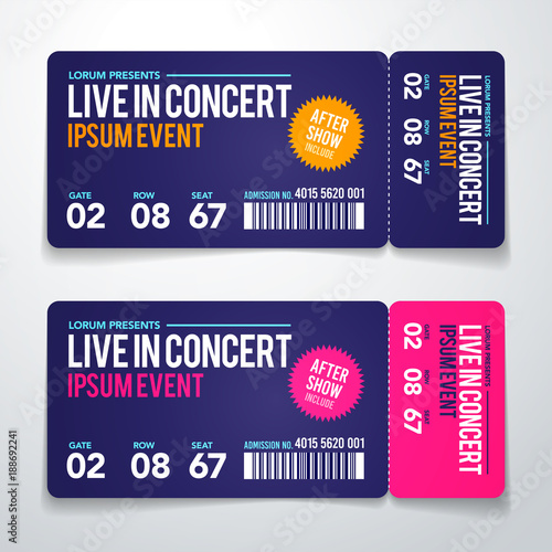 Vector Illustration concert ticket template Concert, party or - Concert Ticket Templates