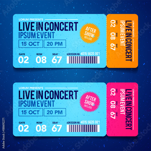 Vector Illustration concert ticket template Concert, party or