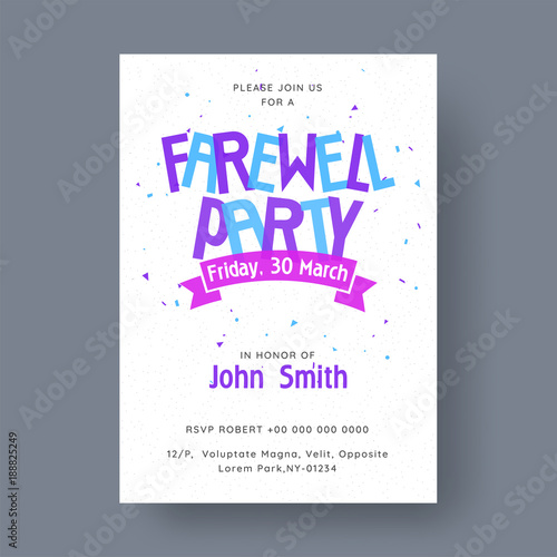 Farewell Party Banner, or Invitation Card Design\