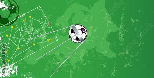 Soccer design template w soccer ball, vector, copy space\