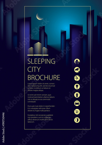 Night city traveling tourist guide book Brochure, flyer, cover - guidebook template