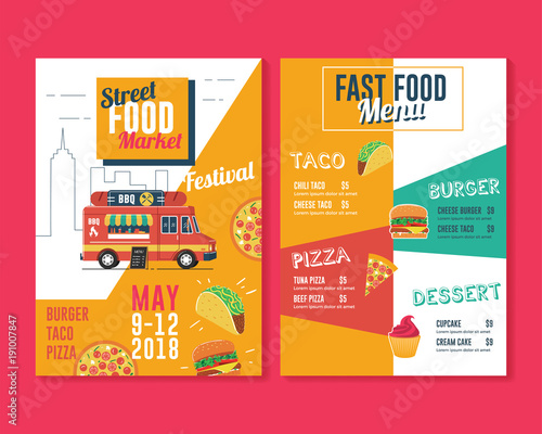 Food truck flyer and menu template Street food market\