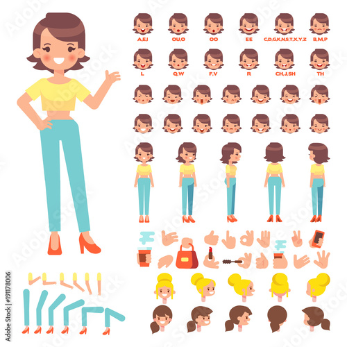 Flat Vector Girl character for your scenes Character creation set