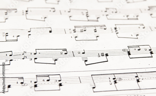 Notes and musical staves\