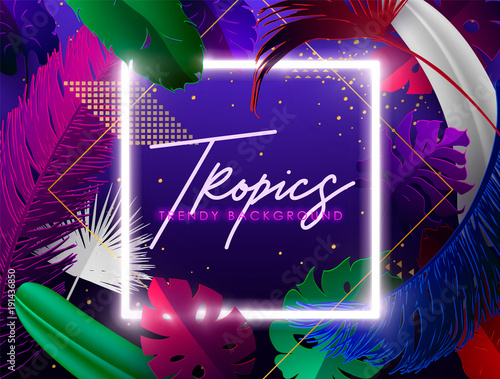 Colorful Summer banners, tropical backgrounds set with palms, sea