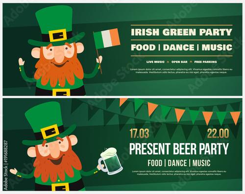 Invitation to Irish holiday of St Patrick Funny cartoon Leprechaun
