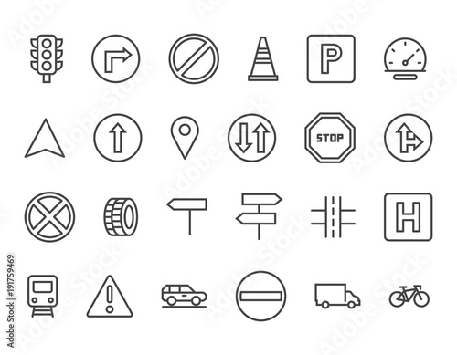Set of Car Features Related Vector Line Icons Traffic signs